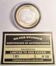 """T-REX DINOSAUR """"SILVER STUNNER"""" 43mm COIN/TOKEN & C.O.A. LTD 500 $50 at Mint"""