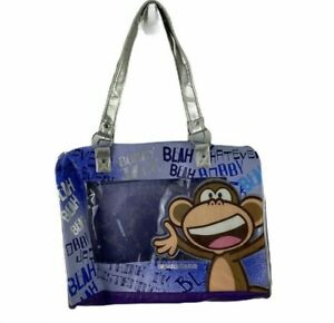Original Bobby Jack Monkey Tote Purse Bag Purple Silver Trim Zippered Bag