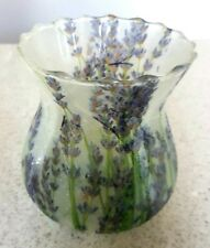 Hand Decorated Candle & Tea Light Holder Glass Lavender Pattern BNWoT