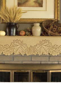 """Heritage Lace Goldenrod LEAF 20""""x60"""" Table Runner or Mantle Scarf Fall USA MADE!"""