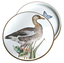 """Anna Weatherley 7"""" Round Hand-Painted Covered Porcelain Box w/Painting Of A Duck"""
