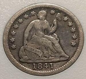 1841 Half Dime. Pre Civil War. Low Mintage. W/REV Die Crack. Vintage USA Silver.