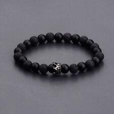 King Crown Women Men Bracelets Gift Black Gold Natural Stone Matte Lava Stone
