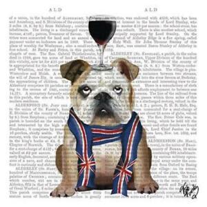 4 individual British bulldog decoupage napkins, mixed media, scrapbooking, craft