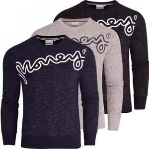 Money Mens Designer Crew Neck Sweatshirt Jumper Smart Casual Pullover Fleece Top