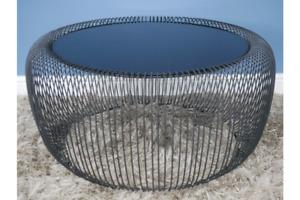 Round Metal and Glass Basket  Coffee Table - Tinted Glass Metal Basket Frame