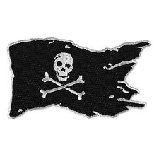 Embroidered Pirate Flag Skull Cross Bones Grey Black Iron on Patch Biker Patch