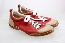 Ecco Lace Up Fashion Sneaker 2 tone Leather Red Tan Women's  Size 40 W EU 9 US