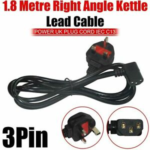 1.8m UK Plug to Right Angle Power Cord IEC C13 Cable kettle lead Left handed