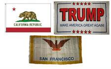 3x5 Trump White #2 & State of California & City of San Francisco Set Flag 3'x5'