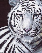 "SFA Original Art 10x8"" White Tiger Wild Animal Cat Realism Oil Painting SMcNeill"