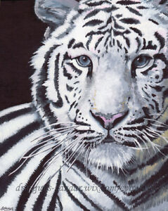 "SFA Original Art 10x8"" White Tiger Wild Animal Cat Realism Oil Painting SMcNeill"