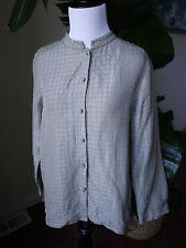eileen fisher PM mandarin collar silk linen shirt blouse gray sheen WORN as is
