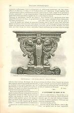 Table Style Renaissance Bureau Henri II Musée de Besançon GRAVURE OLD PRINT 1890