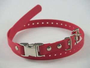 """Red 3/4"""" Biothane Dog Buckle E-Collar Strap Metal Quick Snap For Remote Trainer"""