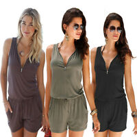 Women Summer Shorts Jumpsuit Playsuit Zip Up Party Clubwear Romper Mini Dress
