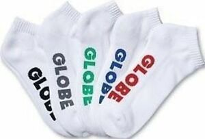 Globe Socks 5 Pack Stealth Ankle White Size 12-15 New Skateboard Sox