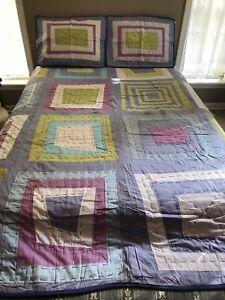 DYR Do Your Room TARGET F/Q Reversible Purple Eyelet Patchwork Quilt Set NWOT