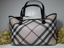 Burberry Nova Check Large w/ Black Patent Leather Trim Tote Handbag.