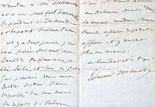 Très belle lettre de Manet à Zacharie Astruc sur la vente de deux tableaux.