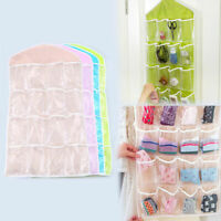 1X 16 Pockets Hanging Bag Socks Bra Organizer Over the Door Storage Holder Rack