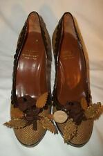 MOSCHINO Brown & Gold Herringbone & Patent Leather Leaf Embellished Pumps 6.5