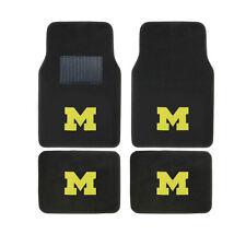 New 4pcs NCAA Michigan Wolverines Car Truck Front Rear Carpet Floor Mats Set