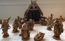 14 piece Fontanini Nativity Scene including barn