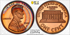 2002-S LINCOLN MEMORIAL CENT PCGS PR68RD DCAM RAINBOW TARGET COLOR TONED