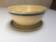 Vintage Homer Laughlin Promotional Mixing Bowl Blue Stripe w matching Underplate