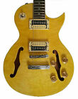Fishbone Blues Man F35-LP-FH Spalted Maple Yellow Burst F Holes Semi Hollow-body for sale