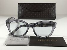 New Authentic Gucci Sunglasses Rounded Clear Gray Lens Gray Havana Marble GG3745