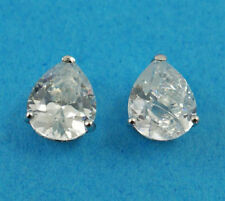Studs Earrings 10mm 925 Hallmarked New Ladies Sterling Silver Pear Cz