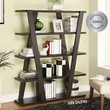 Modern Display Bookcase Bookshelf Storage Wall Rack Stand Shelf Wood 5 Shelves