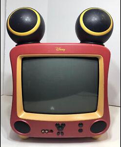"Disney 13.5"" Retro Vintage Mickey Mouse Color TV w Ear Speakers *No Remote* 📺"