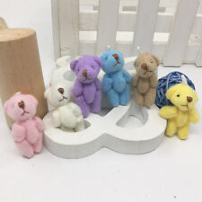 3.5cm Plush Mini Joint Teddy Bear DIY Jwelry accessorries 6Color Mixed 12pc/lot