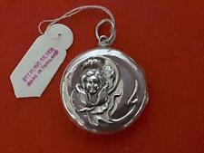 Antique Locket Pendant Sterling Silver charm with embossed Lady in Flower [*]