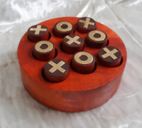 Wooden Tic Tac Tak Tick Toe Noughts and Crosses Board IQ Brain Teaser Game