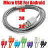 1/2/3M Strong Fabric Braided Micro USB Data Sync Charger Cable Lead For Samsung