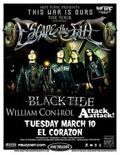 Escape The Fate 2009 Gig Poster Seattle Washington Concert