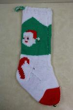"""Original Vintage Hand Knit Home Made Knitted Chrismas Santa Stocking 23"""" No Name"""