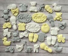 32 lemon grey/white baby christening edible cupcake toppers Baby shower, baptism
