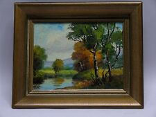 1930'S -50'S IMPRESSIONIST LANDSCAPE W POND OIL PAINTING CARL ROTH NY ARTIST