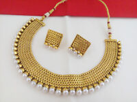Indian Fashion Jewelry New Necklace Set Bollywood ethnic Gold traditional set