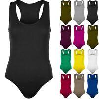 Womens Sleeveless Muscle Racer Leotard Stretchy Ladies Back Bodysuit Vest Top