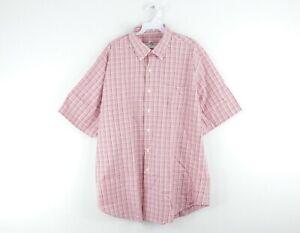 Peter Millar Mens XL Short Sleeve Plaid Casual Button Down Dress Shirt Pink