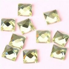 Glass 100x 6mm FlatBack Stones Square Crystals Hotfix Rhinestones YELLOW WG12746