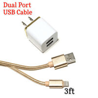 USB Wall Charger Adapt 2.1A Dual Port Lightning Charging Cable iPhone  6 7 8 X