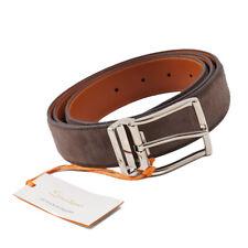 New $295 SANTONI Brown Soft Calf Suede Belt 42 W / Adjustable Strap