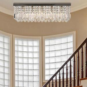 HOMCOM Modern Crystal Ceiling Light Square Chandelier for Home Office Silver
